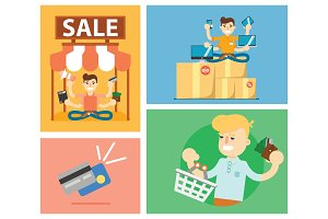 Set of discount sale illustration