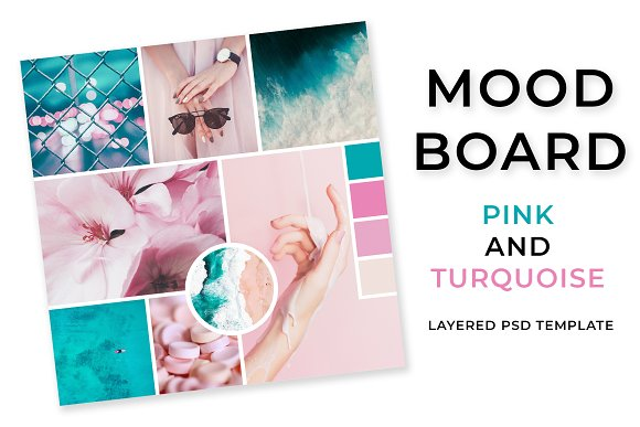 Mood Board Pink And Turquoise