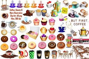 Coffee & Donuts Illustrative ClipArt
