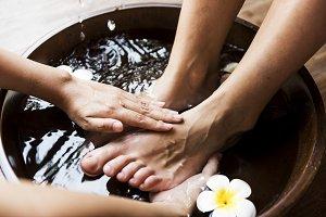 Closeup of a foot spa