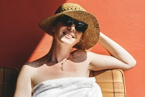 Woman sunbathing in summertime