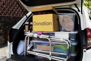 Donations in the back of a car