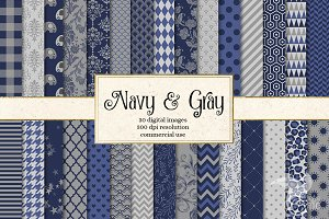 Navy Blue and Gray Digital Paper