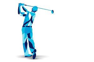 Stylized golf player, golfer