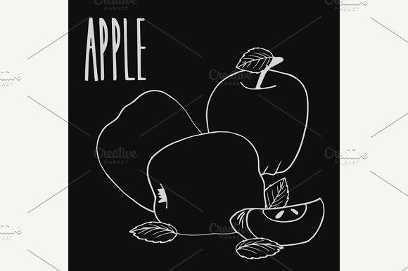 Chalkboard Colorful Ripe Apple Fruit