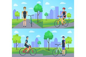 Cyclist and Bike at City Set Vector Illustration