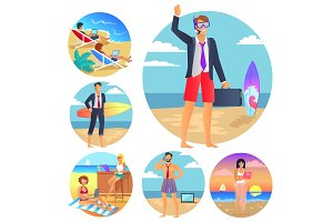 Business Summer Collection Vector Illustration