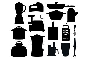 Set of Black Silhouettes of Kitchen Instruments