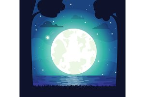 Silhouette of Moon and River Vector Illustration