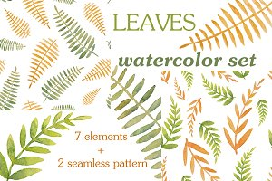 Set of leaves painted in watercolor