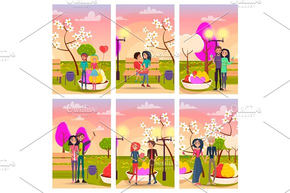 Couples On Dates In Park At Sunset Illustrations