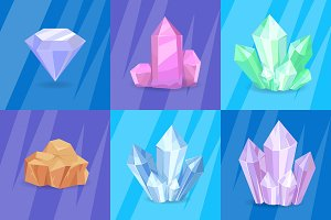 Precious Stones and Minerals Vector Illustration