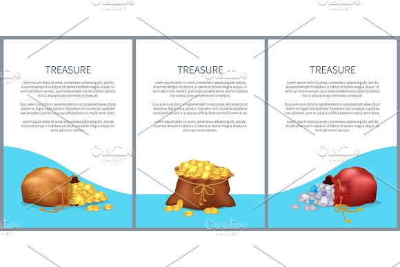 Treasure Posters With Text Vector Illustration