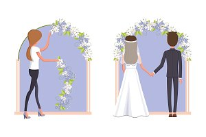 Woman Decorating Wedding Arc Vector Illustration