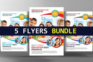 5 Kids School Education Flyer Bundle