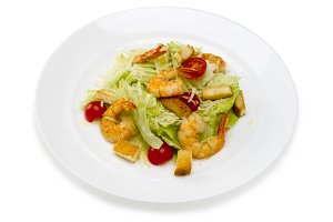 Seafood.Salad with shrimps in a plat