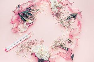 Round floral frame arrangement
