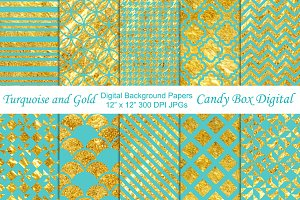 Turquoise and Gold Background Paper