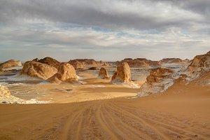 El-Agabat valley in White desert, Sa