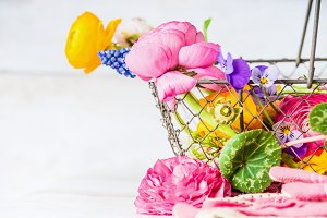 Basket with pretty garden flowers