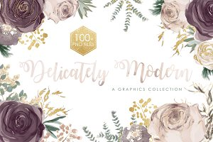 Delicately Modern Watercolor Florals