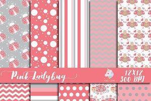 Pink Ladybug Digital Paper