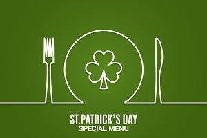 Patrick day menu.