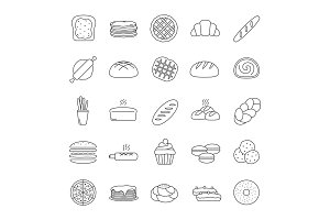 Bakery linear icons set