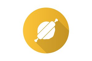 Rolling pin and dough flat design long shadow glyph icon