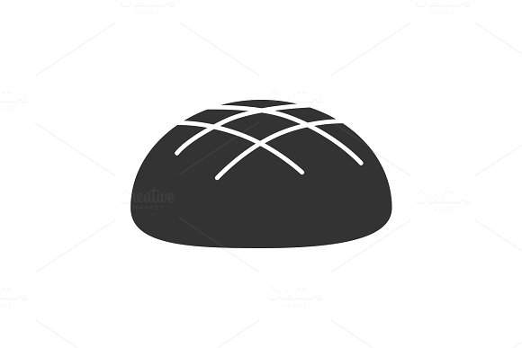 Round Rye Bread Loaf Glyph Icon