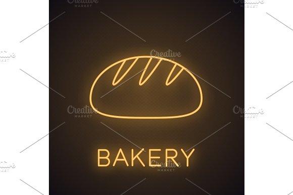 White Round Bread Neon Light Icon