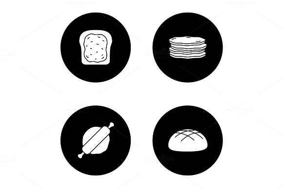 Bakery Glyph Icons Set