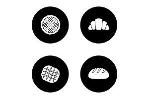 Bakery glyph icons set