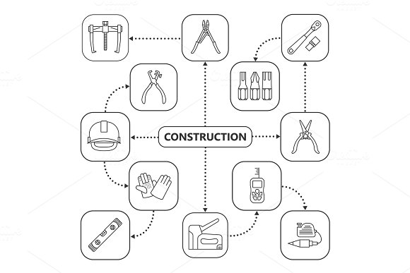 Construction Tools Mind Map With Linear Icons
