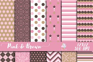 Pink & Brown Digital Paper