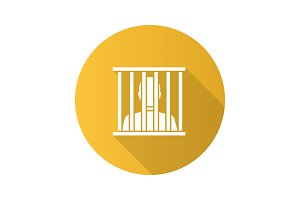 Prisoner flat design long shadow glyph icon