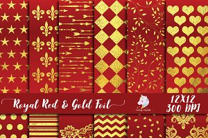 Royal Red & Gold Foil Paper