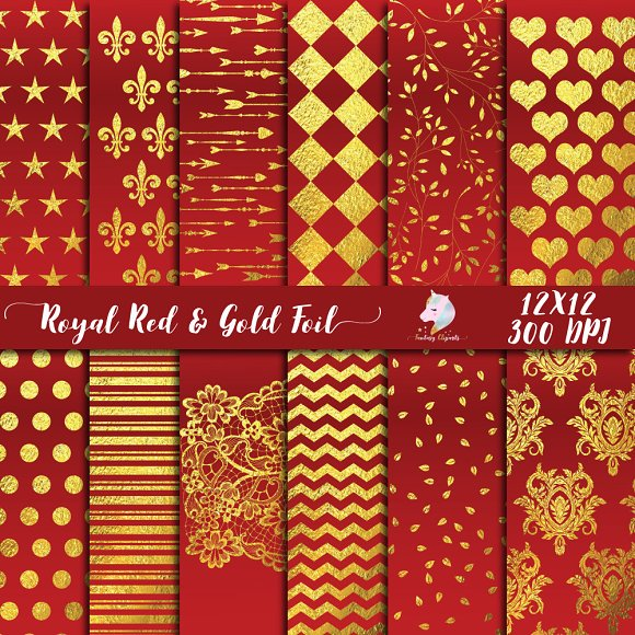 Royal Red Gold Foil Paper