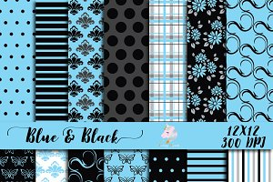 Blue & Black Digital Paper