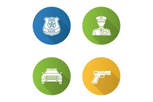 Police flat design long shadow glyph icons set