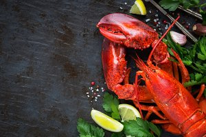 Red steamed lobster with copy space