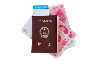 China passport with local money
