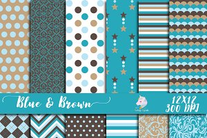 Blue & Brown Digital Paper