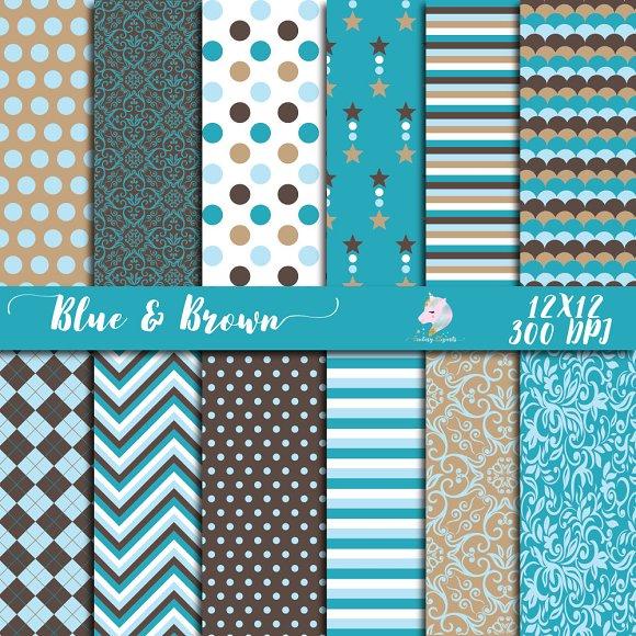 Blue Brown Digital Paper