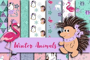 Winter Animals Digital Paper