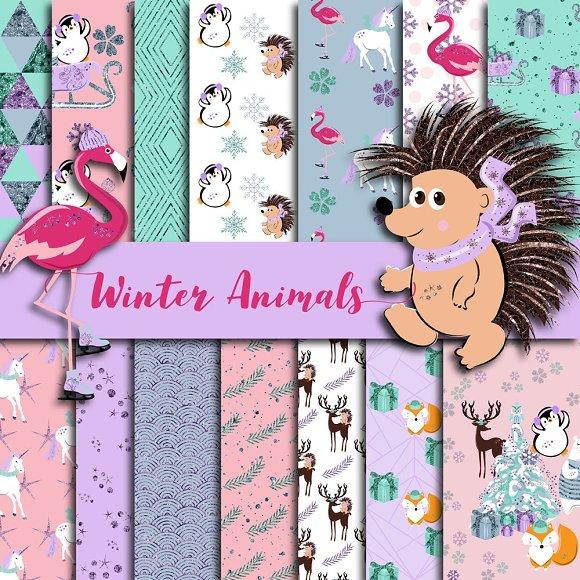 Winter Animals Digital Paper