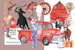 Watercolor Cowboy clipart
