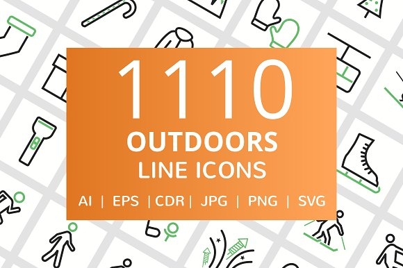 1110 Outdoors Line Icons