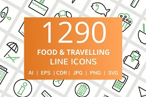 1290 Food & Travelling Line Icons