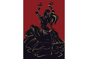 Tribal Fusion bellydance dancer stencil silhouette graphic design
